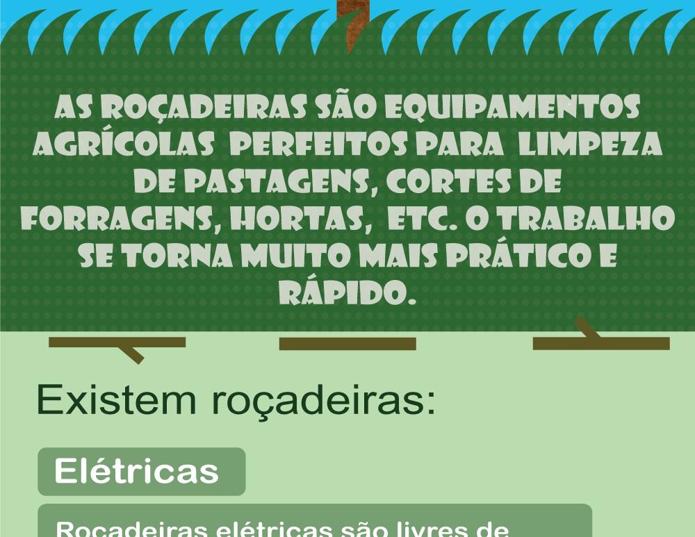 Precisa aparar sua grama? - As roçadeiras são equipamentos agrícolas,  perfeitas para  limpeza de pastagens, cortes de forragens, hortas,  etc.  O trabalho se torna muito mais prático e rápido.