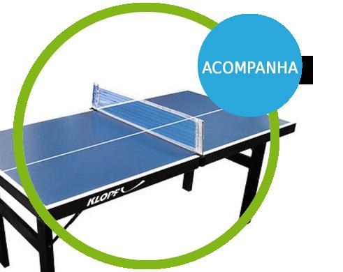 Mini Mesa de Ping-Pong, Tênis de Mesa , Tampo em MDP 12 mm, Pés Dobráveis - 1003K acompanha suporte e rede