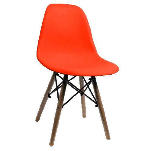 Cadeira Pequena com Armação de Metal e Pés de Madeira
