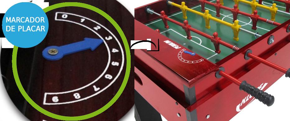 Mesa de Pebolim, Luxo, Varões embutidos, Totó Futebol - 1050 - Klopf com Marcador de Placar
