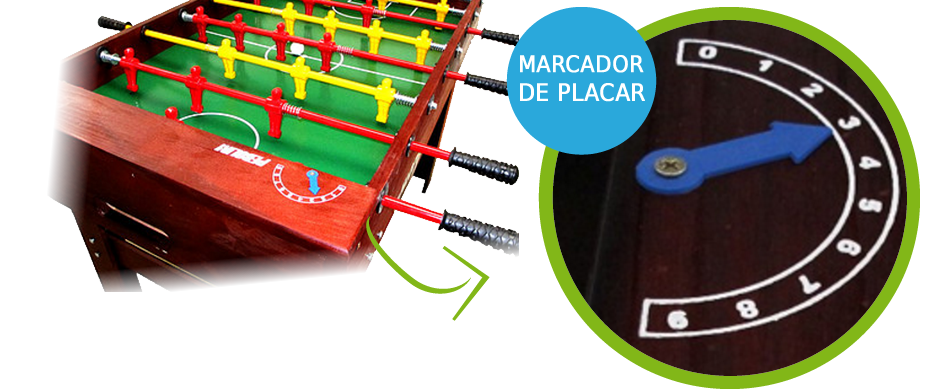 Mesa de Pebolim, Especial, Totó Futebol - Klopf com Marcador de Placar