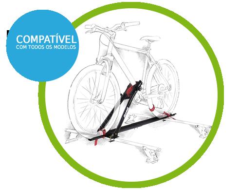 Rack Transbike Teto Velox Aço Preto Suporte 1 Bike Compatível