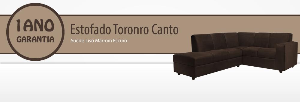 Estofado Toronto Canto Suede Liso Marrom Escuro