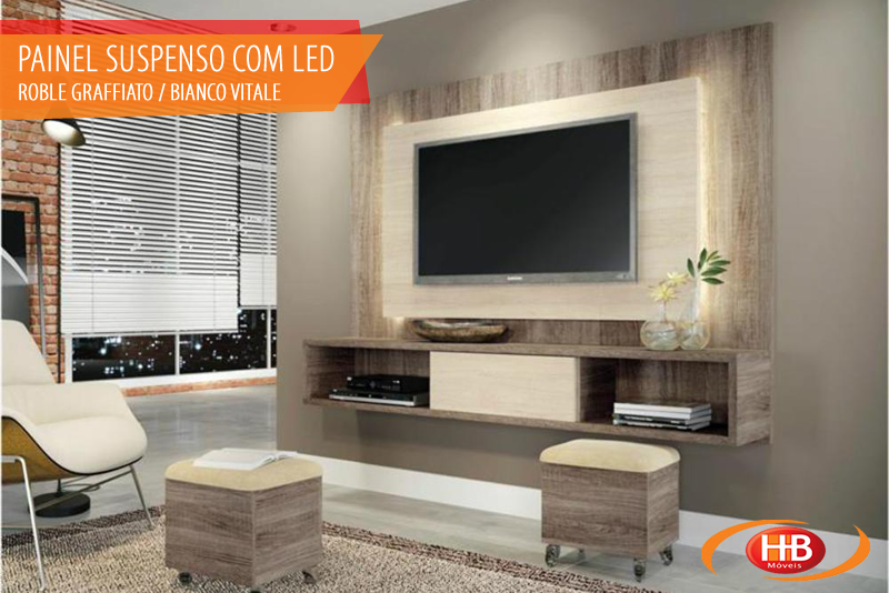 Painel Suspenso com Led Roble Graffiato / Bianco Vitale - 1604