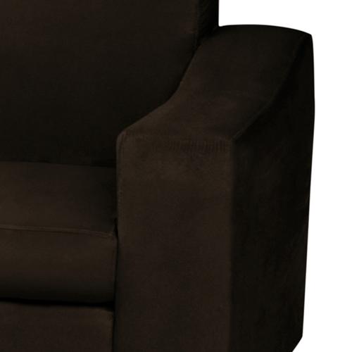Estofado Bello 2 Lugares mais  Chaise Removível Suede Liso Marrom Escuro