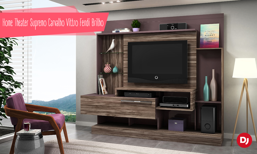 Home Theater Supremo Carvalho Vittro Fendi Brilho