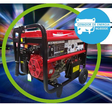 Gerador de Energia a Gasolina 8,125 kva partida elétrica Monofásico 110/220v - NG8000E