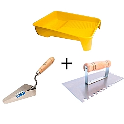 Comprar Bandeja plástica para rolo 23cm preta, Colher de pedreiro canto reto 6, Desempenadeira em aço dentada 120 x 250mm-Vonder