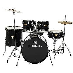 """Comprar Bateria Acústica Audition Dm827 Bk Com Bumbo De 20""""-Michael"""