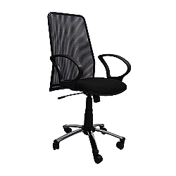 Comprar Cadeira Presidente Tela com Relax com Braço Preto - FN10-Furniture