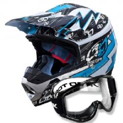 Comprar Capacete Cross Azul + Óculos de proteção Preto 788 - Th1 Electric-Pro Tork