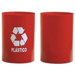 Comprar Cesto Vermelho com adesivo '' plastico '' - sem tampa 30x24 - 14 litros-Bralimpia