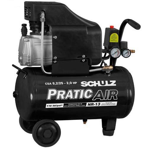 Compressor de Ar baixa pressao 8,2 pes 22 Litros Monofasico - CSA8,2 / 25 - PRATIC AIR - 220v - 22 litros - Schulz