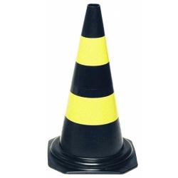 Comprar Cone de sinalização altura de 50 cm 2 faixas preto e amarelo-Vonder