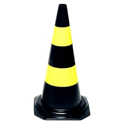 Comprar Cone de sinalização altura de 75 cm 2 faixas preto e amarelo-Vonder