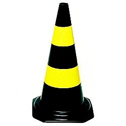 Comprar Cone de sinalização preto e amarelo de 50 cm-Plastcor