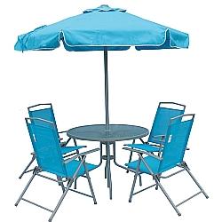Comprar Conjunto 4 Cadeiras Guarda Sol Mesa Miami Azul-Bel Fix