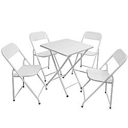 Comprar Conjunto América Mesa Quadrada e 4 Cadeiras Branco-Metalmix