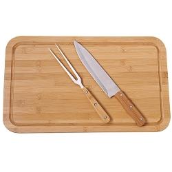 Comprar Conjunto de churrasco com tábua de bamboo retangular-MOR