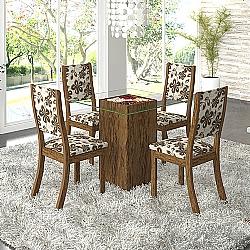Comprar Conjunto Sala Adri K Mesa e 4 Cadeiras Avelã / Lumini-Viero Móveis