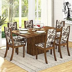 Comprar Conjunto Sala Dani K Mesa e 6 Cadeiras Avelã / Lumini-Viero Móveis