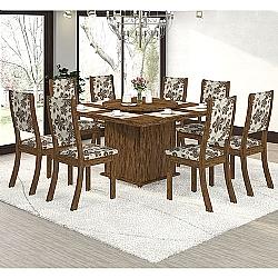 Comprar Conjunto Sala Sara K Mesa e 8 Cadeiras Avelã / Lumini-Viero Móveis