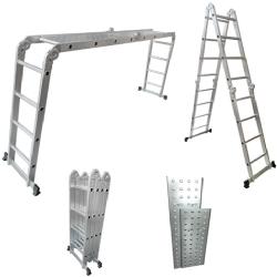 Comprar Escada de alumínio multiuso 4x4 articulada com plataforma e bandeja - TEM4X4-Tander Profissional