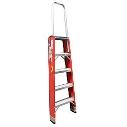 Comprar Escada de fibra americana tipo pintor 5 degraus com alça de apoio - FP205-Alulev