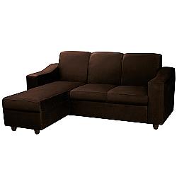 Comprar Sofá Estofado Bello 2 Lugares + Chaise Removível Suede Liso Marrom Escuro-Somopar