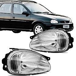 Comprar Farol Corsa Hatch/Sedan/Wagon 1994 à 2002, Pick UP 1994 à 2004, Classic 2003 à 2010 - Carcaça Preta-Importado
