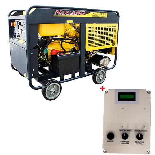 Gerador de Energia a Diesel, Trifasico 110v / 220v, 21 KvA, Partid Eletrica com QTA 21 kvA - NDE19EA3 - Nagano