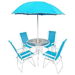 Comprar Jogo Jardim Cadeiras Ombrelone Mesa Leblon Azul-Bel Fix