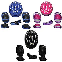 Comprar Kit de Proteção Radical, Capacete, Cotoveleiras, Joelheiras e Luvas - Tamanho M 32-35 Br-Bel Fix