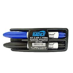 Comprar Kit para Quadro Branco 2 em 1 Apagador e Marcador Preto e Azul-Radex