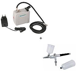 Comprar Mini Compressor para Aerógrafo Portátil Bivol + Aerógrafo Dupla Ação Bico 0,35mm Duas Canecas Reservatório 20 e 30ml - MP1004-Wimpel