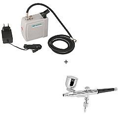 Comprar Mini Compressor para Aerógrafo Portátil Bivol - Comp3 + Aerógrafo Profissional Gravidade Sucção 0,35mm Reservatório 10ml - MP1003-Wimpel