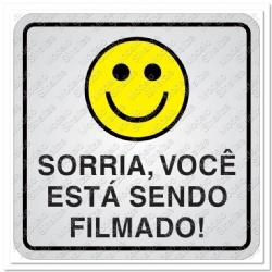Comprar Placa sinalizadora Sorria voc� est� sendo filmado 15 x 15 cm-Sinalize
