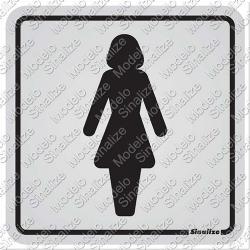 Comprar Placa de alum�nio 12x12 cm sanit�rio feminino-Sinalize