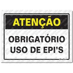 Comprar Placa sinalizadora Aten��o Obrigat�rio Uso de EPI's 20 x 30cm-Sinalize