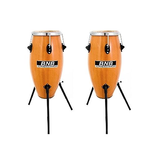 Comprar Tumbadora Profissional Dupla Madeira Envernizada com Tripe-BNB Instrumentos Musicais